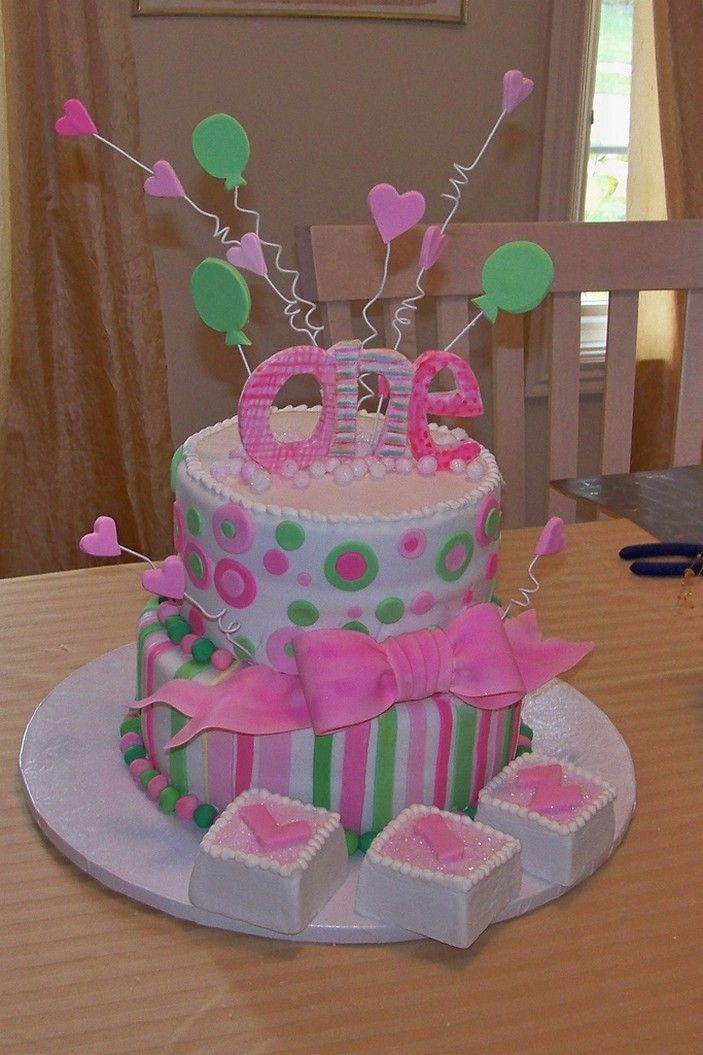 Images Of Baby Birthday Cake : 1st birthday cakes for girls Picnic Party: First ...