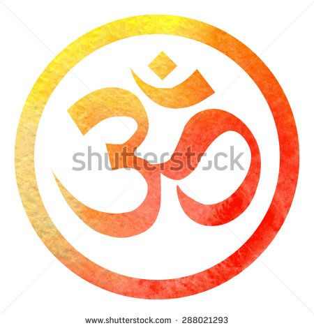Vector illustration of hinduism symbol Om in bright orange watercolor circle frame with white background.