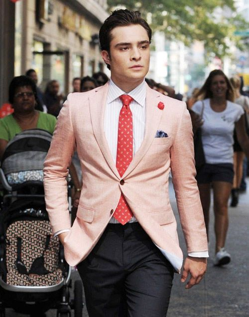 Not every man can sport a pink blazer.