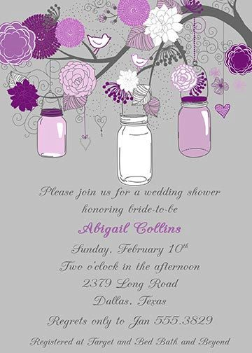 Gray And Purple Eggplant Flowers Branch Mason Jar Classy Modern Bridal Wedding Baby Shower Invitation