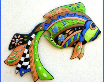 Tropical Fish Wall Hanging, Hand Painted Metal, Outdoor Metal Art, Beach Decor, Tropical Decor, Metal Wall Art, Coastal Decor – J-451-AQ