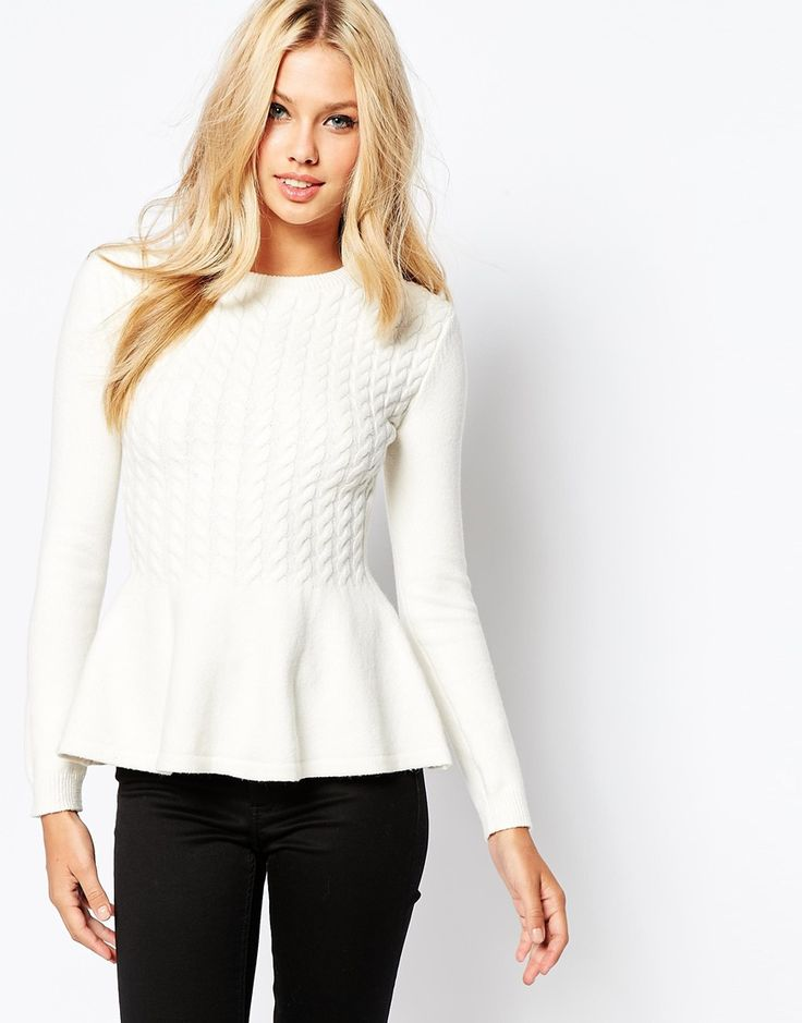 Image 1 of Ted Baker Mereda Cable Knit Peplum Jumper