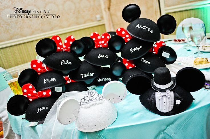 Is there a better way to get guests in the Disney spirit than with embroidered Mickey ear hats? Good idea for bridesmaids and groomsmen