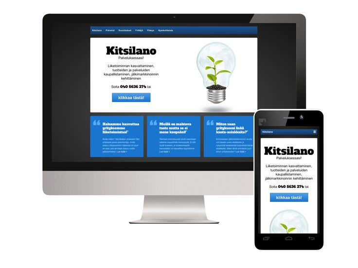 "#Responsive #website for a Finnish consultancy called Kitsilano: http://www.kitsilano.fi (in Finnish). In case you're wondering about the phone design of the mockup picture, it's Fairphone. Search ""fairphone"" here at Pinterest or using your favourite search engine ;)"
