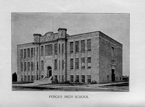 The c1928 Fergus High School on Tower St. S.