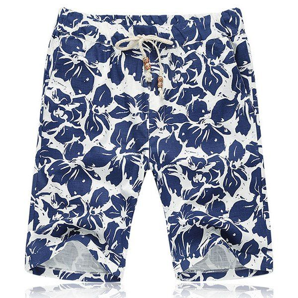 Lace Up Loose Fifth Pants Flower Printing Beach Shorts For Men #hats, #watches, #belts, #fashion, #style