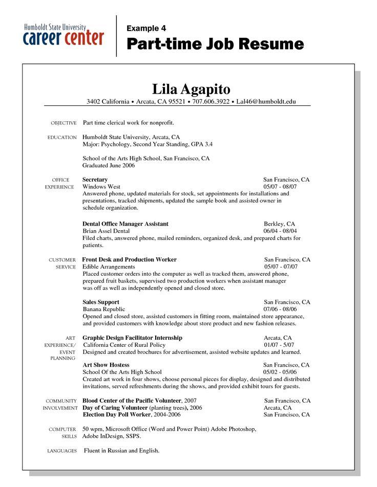 job part time resume examples  job resume samples job