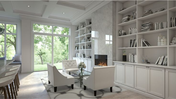 White marble fireplace and built-in bookshelves complete the living space at Glen Agar, 19 Glen Agar Dr, Etobicoke, Toronto, ON is a new development project by Minto. Check out the property photos, floor plans and amenities. | REW.ca