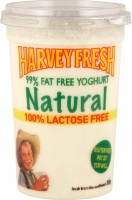 Harvey Fresh Lactose Free, Gluten Free, 99% Fat Free Yoghurt Natural 300g Cup  www.harveyfresh.com.au