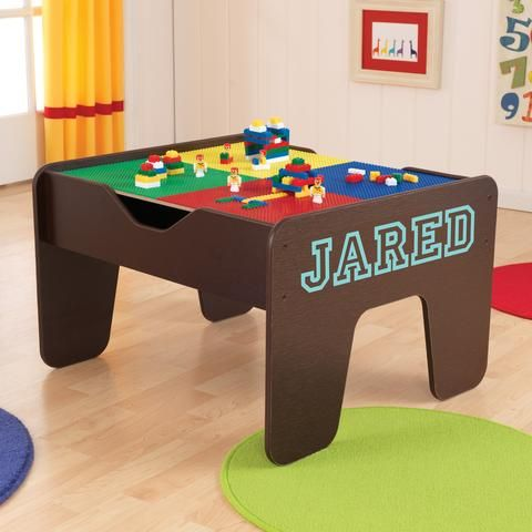 Personalized 2 in 1 Lego Activity Table with Board - Espresso