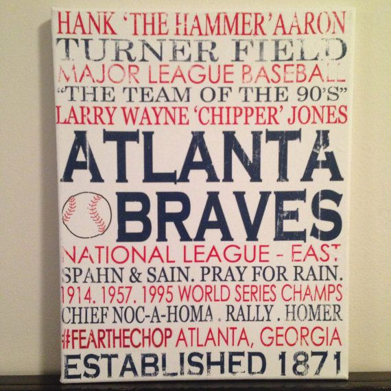Subway Art -Atlanta Braves. MLB. Baseball 'Rustic' Looking Canvas on Etsy, $30.00