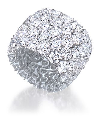 Wide Diamond Band Ring 5-rows of round brilliant-cut white diamonds, in an 18-karat white gold setting. Diamond weight: approximately 20 carats total; G, VS.