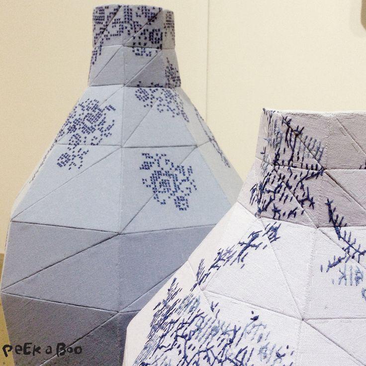 Vases made of 2-hand fabrics by Danish designer Martine Myrup shown at Northmodern.Design Blog - DIY - Home Garden and Living inspiration - Peekaboo Design