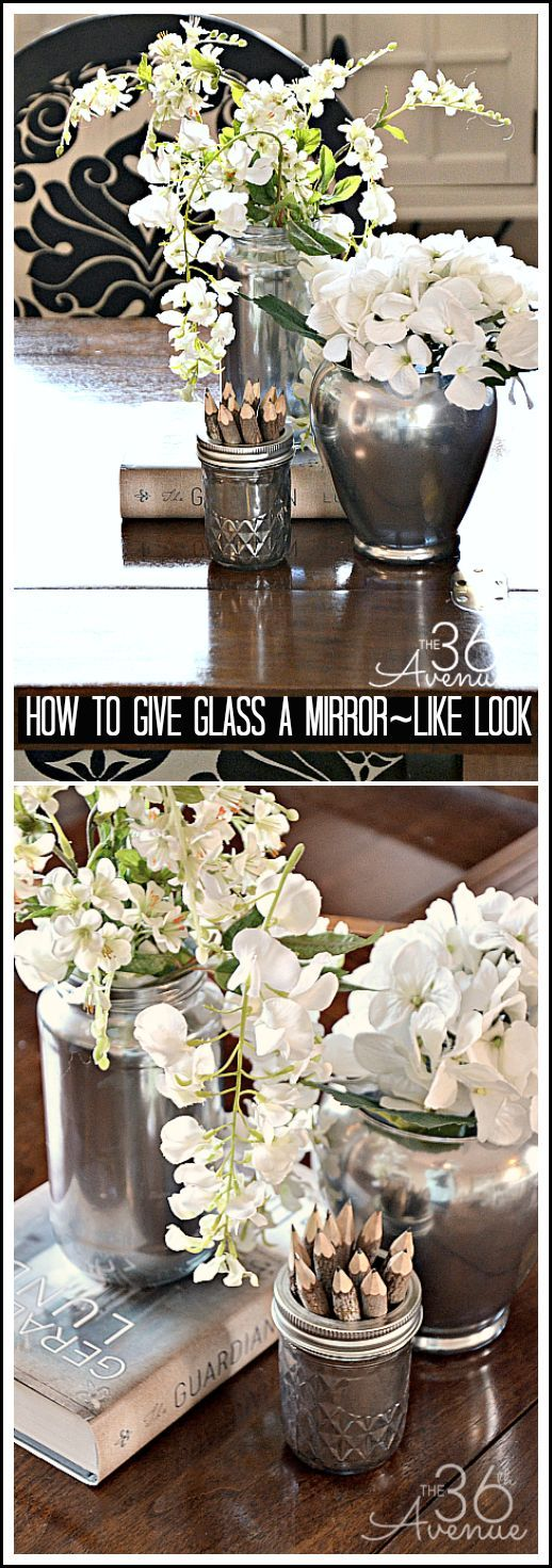 Can you believe this is a spaghetti sauce jar and a dollar store vase? Give glass a mirror-like look in five minutes! Love this! #diy #home #crafts