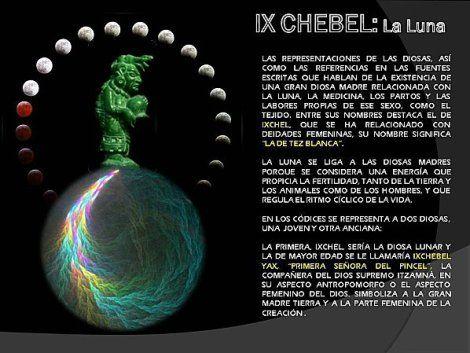 IXCHEL - déesse maya de la  lune -Para los pescadores mayas fue además de su diosa madre la patrona de las aguas marinas y de la pesca ya que Ixchel mandaba los huracanes y tempestades rescatando por ende el conocimiento maya la influencia lunar sobre el mar, sus movimientos y mareas. -- lunaix1