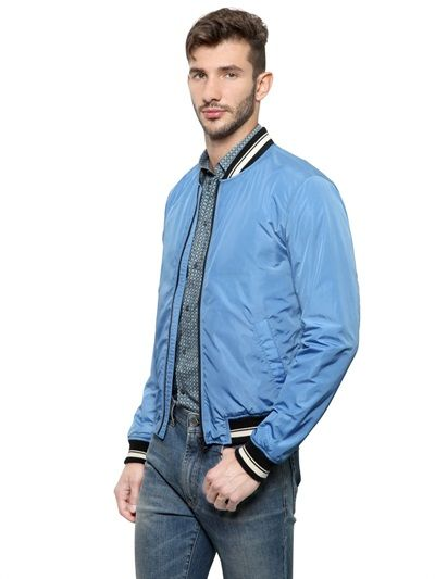 Buy Dolce & Gabbana Men's Blue Light Nylon Bomber Jacket, starting at $488. Similar products also available. SALE now on!