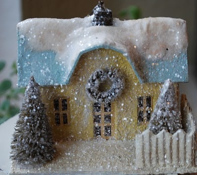 Glitter Christmas house  #christmas #putz #house #cardboard #glitter #yellow #vintage