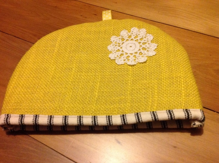 Gorgeous yellow Gerty Brown tea cosy
