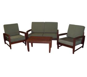 OUTDOOR FURNITURE  Kwila Timber Outdoor Couch Setting.