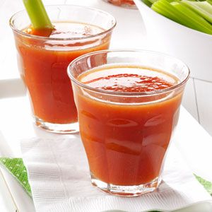 Spicy Tomato Juice Recipe - tomatoes, celery, onion, green pepper, parsley - simmer, food mill, add sugar, worcestershire sauce, salt, hot pepper sauce, cayenne pepper, pepper - bring to boil, cool, freeze