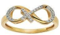Ax Jewelry Diamond Infinity Cross Ring In 10kt Yellow Gold.