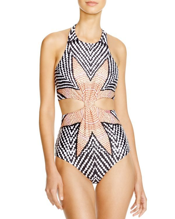 Mara Hoffman Starbasket White Monokini One Piece Swimsuit