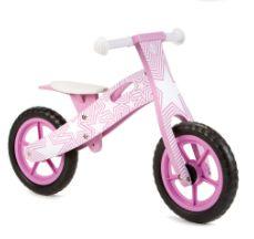 New Pink Star Wooden Balance Bike