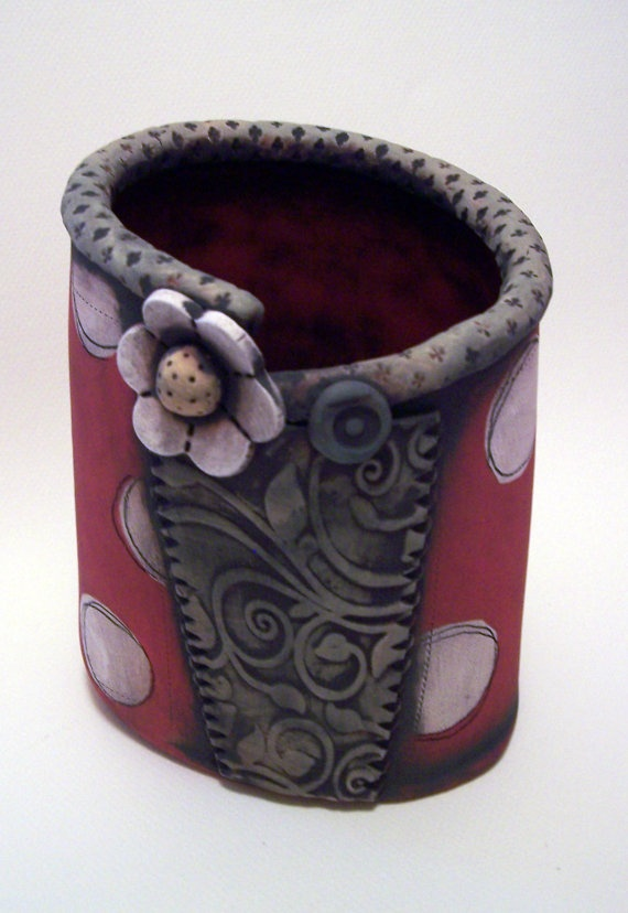 Red Dotted Container by PolkaDotClayStudio on Etsy