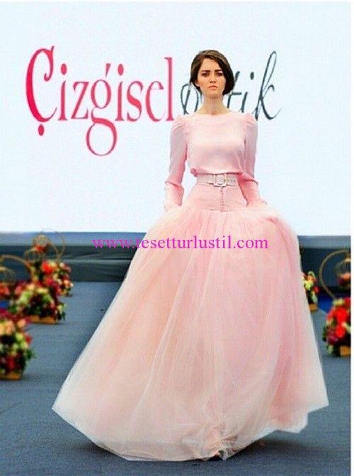 Çizgisel Butik Pembe Prenses Nişan Elbisesi
