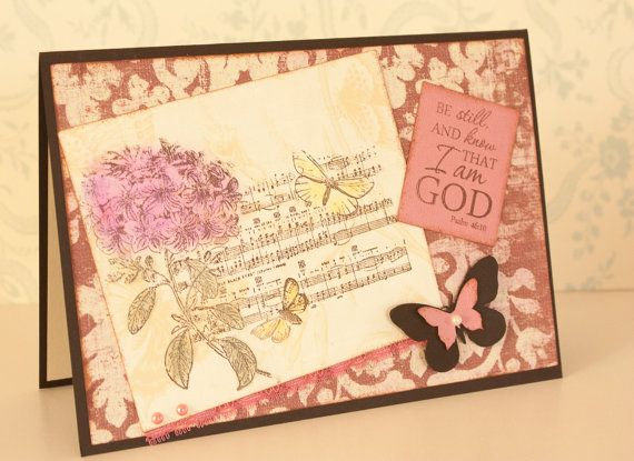 Encouragement Card with Music Notes Stamp and Message from Psalms