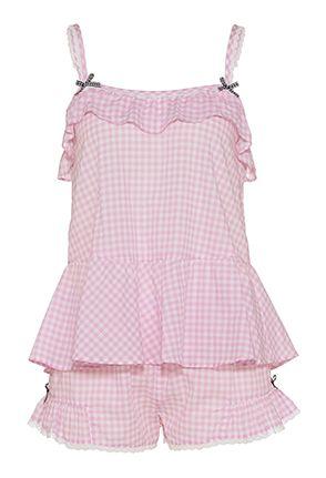 Pink Gingham Shortie Set - Peter Alexander