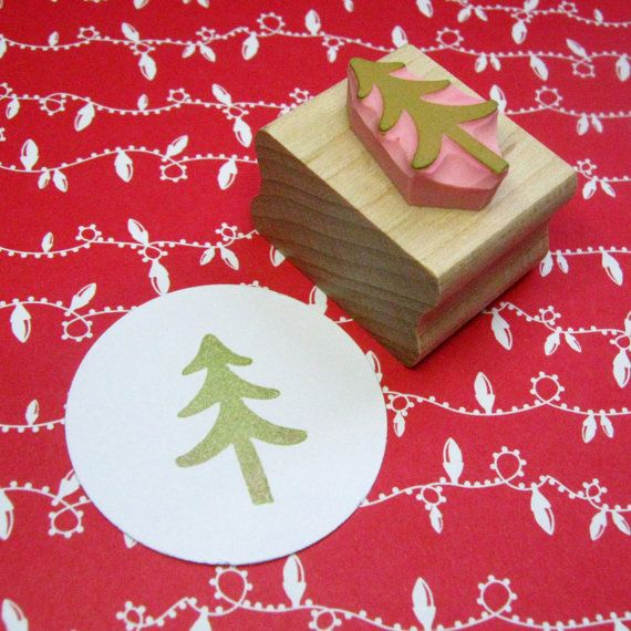Hand Carved Rubber Stamp Xmas Tree