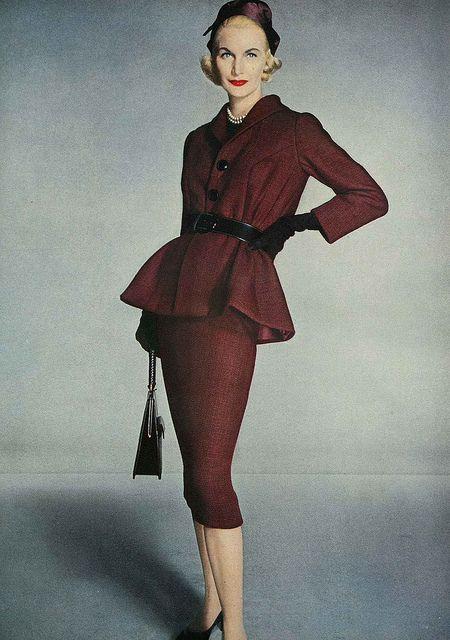 A piercingly sharp 1950s oxblood skirt suit.  #suit #retro #vintage #feminine #designer #classic #fashion #dress #highendvintage