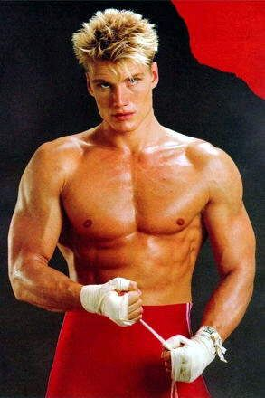 Dolph Lundgren in the Rocky days.  Eric's physique inspiration.
