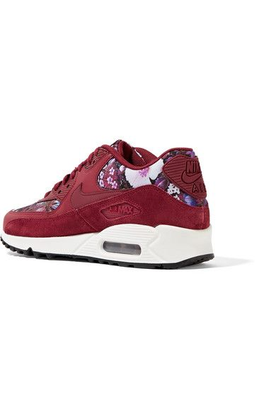 Nike - Air Max 90 Se Floral-print Canvas, Leather And Suede Sneakers - Burgundy - US