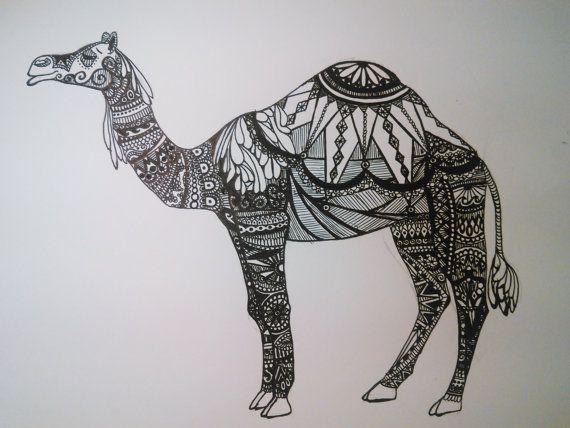 Dessin chameau d'encre par NarwhalCustomArt sur Etsy