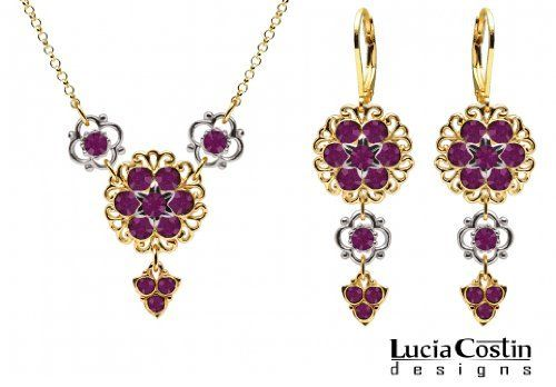Feminine Necklace and Earrings Set by Lucia Costin with Sterling Silver 6 Petal Cute Flowers and Violet Swarovski Crystals, Crafted with Fancy Charms and Lace Ornaments; 14K Yellow Gold over .925 Sterling Silver Lucia Costin. $129.00. Handmade in USA unique jewelry set. Wonderfully designed with purple Swarovski crystals. Floral design accompanied by cute details. Style takes wings in this lovely jewelry set that have a graceful flower shape. Set of jewelry by Lucia Costin