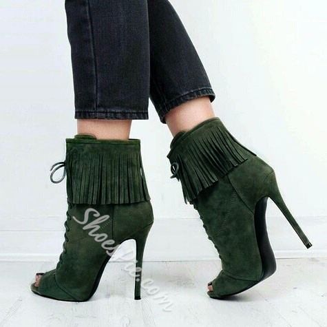 Shoespie Light Green Peep Toe Lace Up Stiletto Heel Ankle Boots