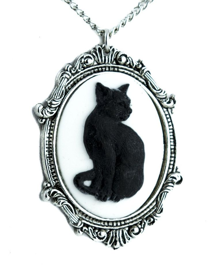 Black Cat Cameo Necklace Gothic Halloween Jewelry Pendant Lucky 13