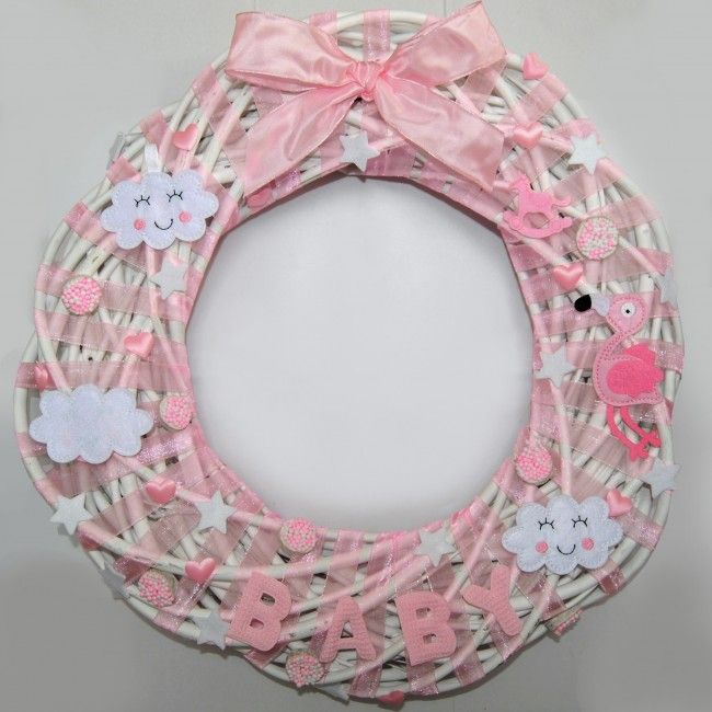 Geboortekrans meisje Ø50cm Witte krans met beschuitjes en flamingo