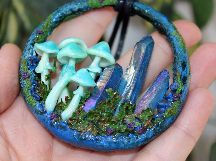 Mushrooms glows in the dark / Natural Quartz Crystal / Pendant / Polymer clay #Handmade