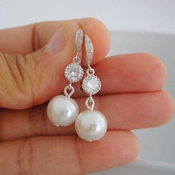 Silver Wedding Bridal Earrings Dangling Silver Cubic by RBJohnson, $39.50