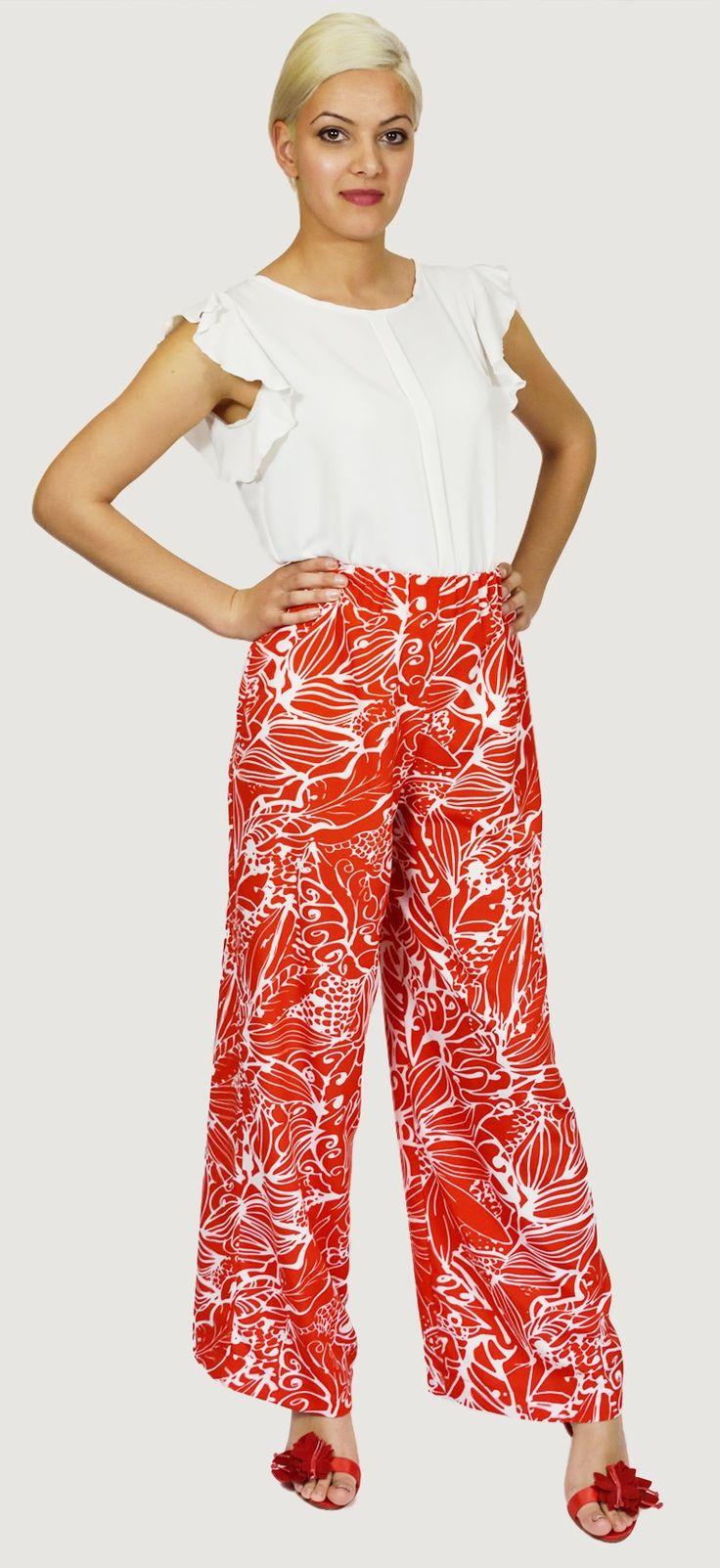 Pantalón Estampado Rojo y Blanco en tejido muy ligero, muy ancho de pierna y con goma en la cintura. Ideal para el verano.