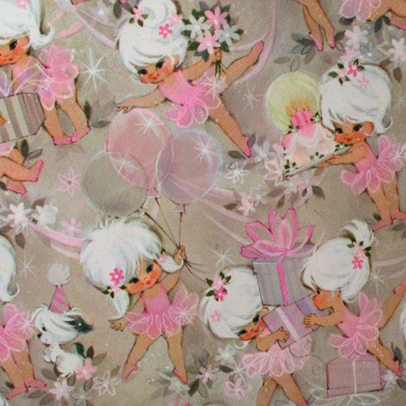 Little BALLERINA'S in PINK - Vintage - Birthday -  Wrapping Paper Gift Wrap