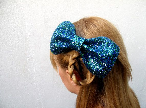 Big Lola Bow // Peacock Blue Glitter Hair Bow  // by hellobettybow