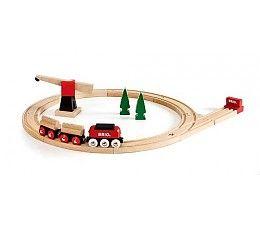 Brio treinen Klassieke vrachttrein set 33010  Een klassieke BRIO houten spoorwegen set. Met de houten goederentrein kun je boomstammen vervoeren van het bos naar de fabriek. De eenvoudig te bedienen houten kraan heft de boomstammen door middel van magneten van de goederenwagons. De set levert groot plezier voor alle kleine machinisten in spé.  Omvang: 45 x 51 cm  http://www.brio-trein.nl/brio-treinen-33010-klassieke-vrachttrein-set.html