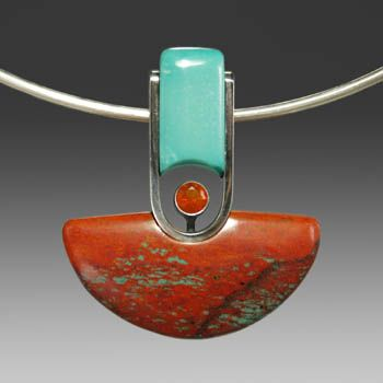 "Wolfgang Vaatz: , Sonoran Sunrise, Kingman Turquoise, 5mm Mexican Fire Opal, sterling silver and oxidized sterling silver pendant. 1.8"" x 1...."
