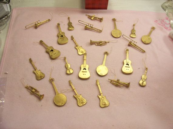 Musical Instruments Ornaments LOT of 23 Gold Tone Christmas Tree ...