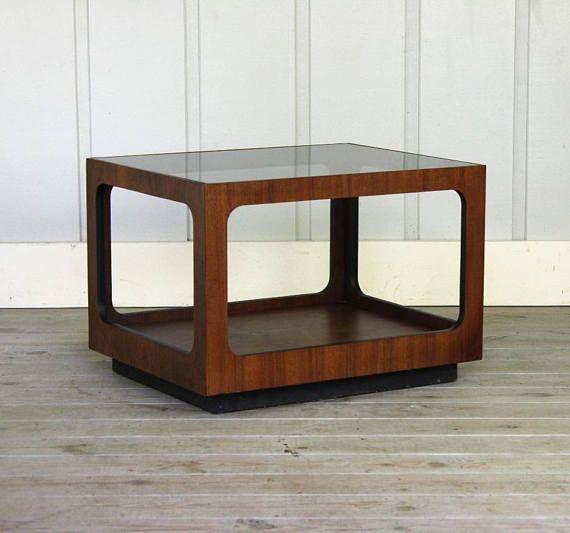 Vintage Lane Walnut Smoked Glass Side Table Walnut Mid Century