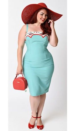 Plus Size 1950s Rockabilly Mint Embroidered Marylou Stretch Wiggle Dress